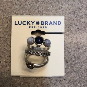 NWT Lucky Silver Two Tone 3 pc set stone